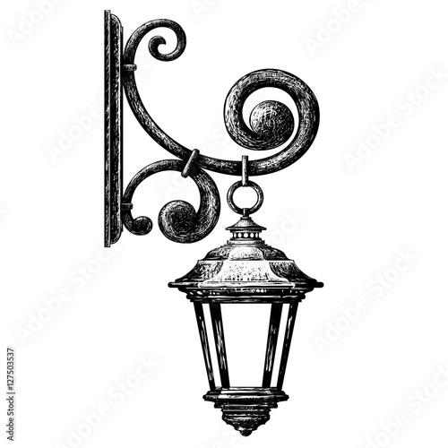 quotsketch of street light lamppost candlestickquot stock