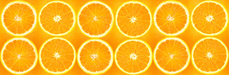 Orange slices in a panoramic image