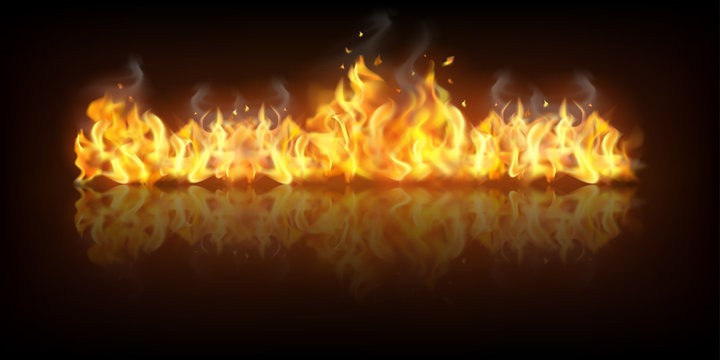 Realistic Fire Flame Banner