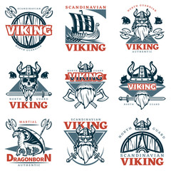 Colored Viking Emblem Set