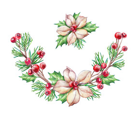 watercolor illustration, floral Christmas decoration, garland, ornaments, clip art isolated on white background