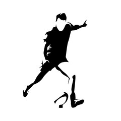 Rugby player kick ball, abstract vector silhouette