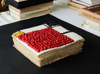 square cake on a black background. Mondrian cake