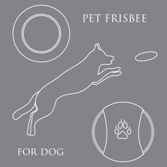 Silhouette of jumping dog and Frisbee.
