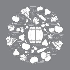 Autumn symbols in circle. Barrel, corkscrew, wine glass, pear, p