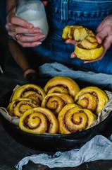 Sweet autumn breakfast - homemade pumpkin cinnamon rolls