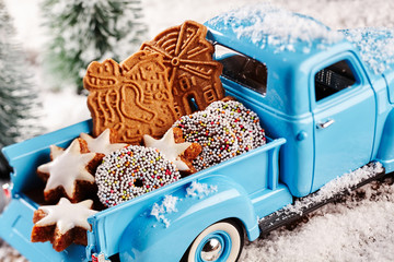 Delicious Christmas cookies in back of toy truck