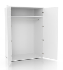 Empty open wardrobe isolated on white background.