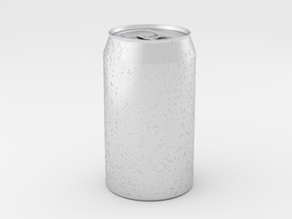 Aluminum can mockup isolated on white background