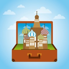 brown suitcase with iconic momument of russia. over sky background. vector illustration