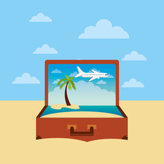 brown suitcase with beach landscape. over sky background. vector illustration