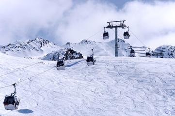Gondola ski lift in Oberrgurgl-Hochgurgl ski resort in Otztal Alps, Austria