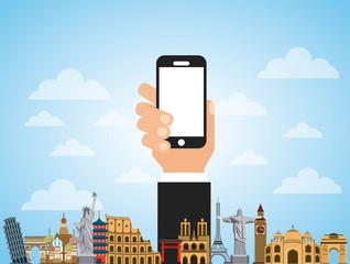 iconic monuments of the world and hand holding a smartphone device. colorful design. vector illustration