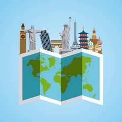 iconic monuments of the world and map over blue background. colorful design. vector illustration