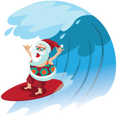 Cartoon Santa Claus surfing a gnarly wave while giving the shaka hand sign. For tropical Christmas or after Christmas. EPS 10 vector.