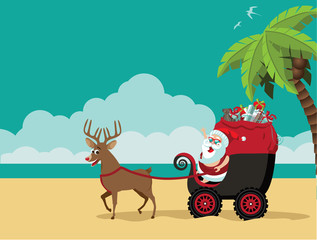 Cartoon Santa Claus delivering Christmas gifts on the beach in his dune buggy. Background with copy space for tropical Christmas or after Christmas. EPS 10 vector.