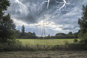 Alternate solar power concept landscape image of lightning hitti