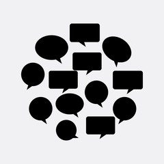 communication bubbles in circle shape over white background. vector illustration
