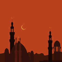 East Town and mosque in sunset. Ramadan.  image