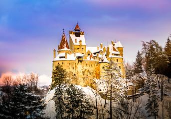 Sunset light over medieval dracula Bran castle in Brasov, Transylvania,  Romania