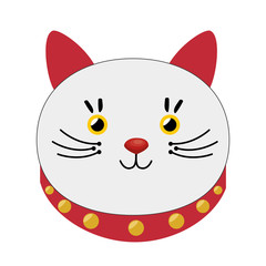 lucky cat hold coin japan icon vector illustration eps 10