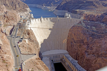 View from the Mike O'Callaghan-Pat Tillman Memorial Bridge of the famous Hoover Dam