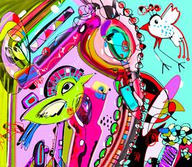 original unique abstract digital contemporary artwork poster wit