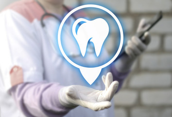 Dentist offers dental treatment. Prosthetics, Orthodontist. Doctor offer location tooth icon. Healthccare, medicine, e-health.