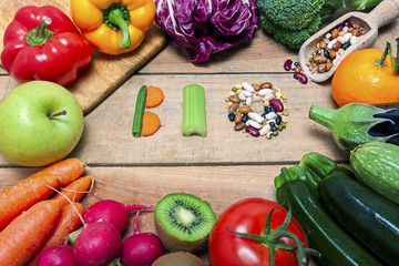 Colorful fruits and vegetables on wood background with word bio