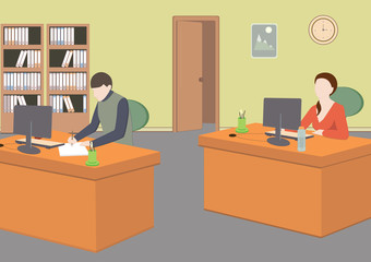 Man and woman in room. Office life. Flat style vector illustration. Situation in office. Workplace.