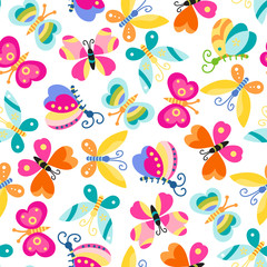 Seamless background with colorful cartoon butterflies.