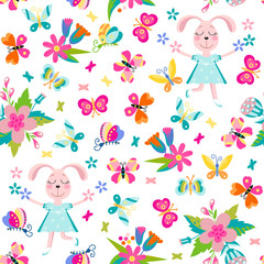Seamless pattern with happy hare in summer.