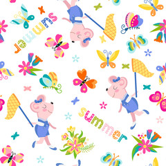 Seamless summer children's background with mouse.