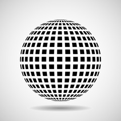 Abstract globe from black squares. Vector design