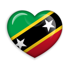 Love Saint Kitts and Nevis. Flag Heart Glossy Button