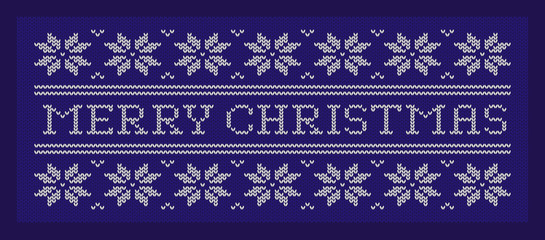 Merry Christmas. Knitted fabric. Blue