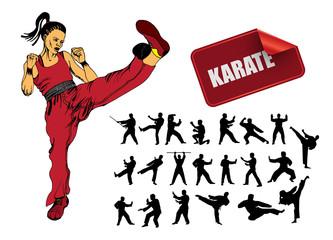 Karate posing, vector