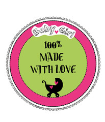 100% Made with love baby girl shower cardr