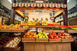 Counters with fresh fruits and vegetables.