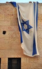 Jerusalem - Flagge Israels an einer Hauswand