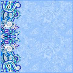 blue invitation card with ethnic background, royal ornamental de