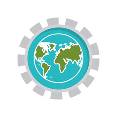 image with world map in toothed circle vector illustration