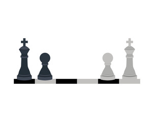 silhouette with kings and pawns chess vector illustration