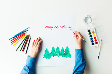 Merry Christmas painting with a water color
