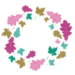 Floral round tree leaves autumn colorful frame. Floral wreath with pink, green, gold leaves. Realistic maple and oak leaves in circle on white background. Vector illustration.