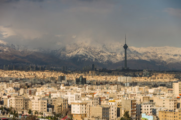 Tehran skyline of the city