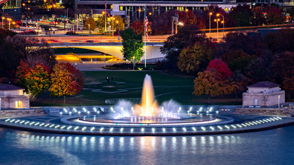 Point State Park in Pittsburgh, Pennsylvania and the iconic illuminated water fountain.