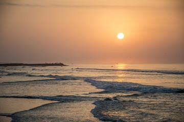Amazing Sunset red waves at beach Salalah Oman 6