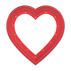 Red heart picture frame isolated on white. 3D illustration.