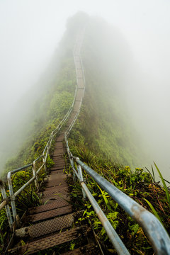 Stairway to Heaven in Oahu island Hawaii coverd by morning fog